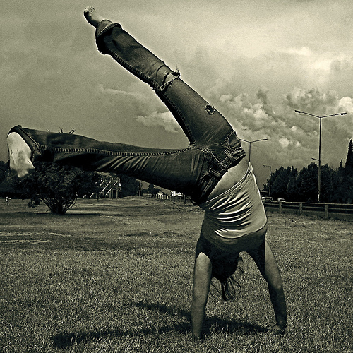 person doing a cartwheel